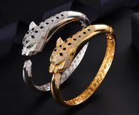 Mode Leopard Armband För Kvinnor 18K Guldpläterad Hiphop Smycken Bling Cubic Zirconia Bröllop Bangle Märke Designer Armband Gratis frakt