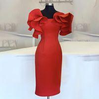 Kadınlar Kırmızı Bodycon Elbiseler Ruffles Şık Parti Event Midi Elbise Zarif Slim Vestido Afrika tarihi Out Beslenme Bornozları