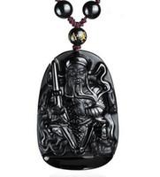 أزياء جميلة المجوهرات السوداء سبج الطبيعية منحوتة الإمبراطور شوانوو محظوظ تميمة قلادة الخرز قلادة