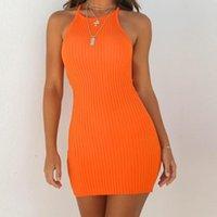 Strap Dress modo delle donne sexy Backless Abiti di base Abiti aderente vestito solido Sling maniche partito di festa Mini #P