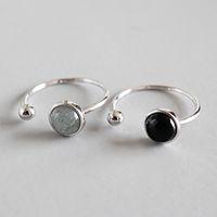 Nowy Prosty styl 925 Sterling Silver Round Koraliki Czarny Agata Księżyc Kamień Otwarty Rozmiar Pierścienie Dla Kobiet Oświadczenie Regulowany Pierścień