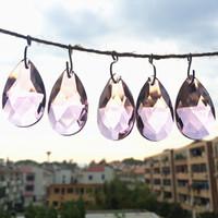 100pcs / lot 38 millimetri superiore del cristallo di colore rosa di colore di vetro sfaccettato Pera Pendenti, Crystal Prism Hanging Gocce per DIY Parti lampadario