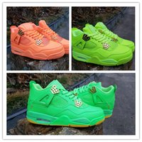 Wholesale New 4 Army Green orange 4s low men basketball shoe...