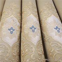 bege cortina Europeia quarto tela da janela apagão pano espessamento chenille luxo bordados sala de estar cortinas costume acabados