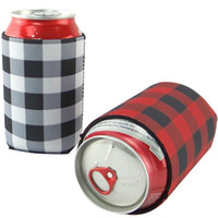 Neoprene Can Sleeves Plaid Beverage Coolers With Bottom Beer Cup Cover Case Bottle Cup Holder Drinkware Handle Kitchen Tools HH7-1958