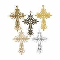 Encantos 100pcs oco filigrana Cruz religiosa jóia da cruz pingentes de metal de liga de zinco na moda para fazer jóias de 63 * 24 milímetros
