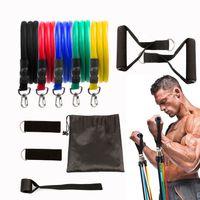 Vente chaude 11pcs / set Pull corde Fitness Exercices bandes de résistance latex Tubes Pédale Excerciser Body Training Workout élastique Yoga Band