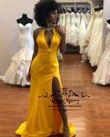 Sexy Yellow Cheap Mermaid Prom Dresses 2019 Keyhole Neck Hal...