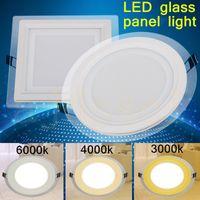 LED Panel LED Spot 3 Renk Değişim Cam LED Downlight 6 W 9 W 12 W 18 W Panel Işık AC85-265V Tavan Gömme İç Aydınlatma