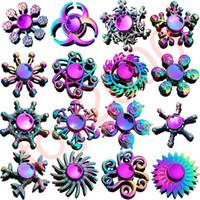 무지개 금속 Fidget Spinner Star Flower Skull Dragon Wing Autism Adhd Kids 성인 Adhd Kids Adults Antistres 장난감 EDC Fidget Kids Toys