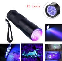 395-400NM Torce ultraviolette a luce UV UV Torce a luce nera Torcia a raggi ultravioletti Rilevatore di macchie di urina 12 Torce a LED