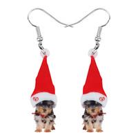 Dangle Chandelier Acrilico Cappello di Natale Yorkshire Yorkie Orecchini Dog Drop Animal Animali Animali Gioielli per Le Donne Girls Teen Party Charm Regalo