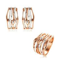 Серьги Ожерелье Viennois Геометрические Ювелирные Изделия Для Женщин Розовый Золотой Цвет Полы Дизайн Кольцо Ушные Зажима 2021
