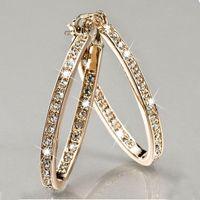 Mode Cirkel Rhinestone Haak Oorbellen Voor Vrouwen Verklaring Grote Zilver / Goud Kleur Ronde Cirkel Loop Oorbel Party Gift