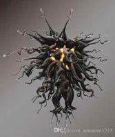 Урожай черный выдувное стекло люстры свет Современный отель Декор стекла Подвеска Лампы Art Дизайнер муранского стекла LED Современные люстры