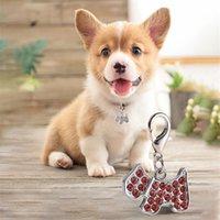 Perros etiquetas de identificación creativa de aleación de zinc Diamond Dogs Forma personalidad colgante Collar de mascotas Suministros para mascotas Decoración