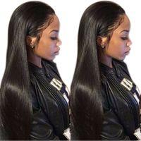 Vente chaude longue ligne droite à la recherche de cheveux sans colle dentelle avant souhaitent une perruque de cheveux pour les femmes afro-américaines14-28 pouces résistant à la chaleur