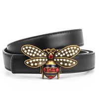 Latón abeja hebilla de cuero genuino para las mujeres Mujer Jean cintura de la correa de la correa Cinturones de moda