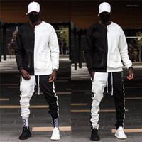 Farbe trainingsanzüge frühling herbst mens designer zweiteilige hosen stück stey style seveetement pour homme mode hiphop kontrast