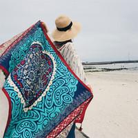 Summer Seaside Beach Towel Sunscreen Silk Scarf Women Shawl Cotton And Linen Mandala Colorful With Tassels 10 5sh C1