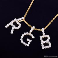 Circón Tenis Cartas Collares Colgante Nombre Personalizado Encanto Para Hombres / Mujeres Joyería de Hip Hop Fashiom de Oro Plata con cadena de cuerda