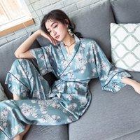 Pijamas femeninos Kimono Style batas de manga larga con pantalones largos Inicio Traje de impresión para dormir mujer pijama de primavera y otoño