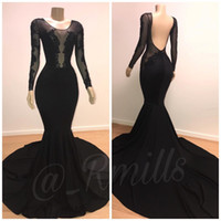 Sexy mangas compridas Mermaid Preto Prom Vestidos longos 2019 Lace Applique Backless Prom Party Dresses Vestido de Noite
