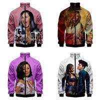 3d Stehkragen Hoodie Lustige Nette Cardi B Print Mode Männer Frauen Reißverschluss Hoodies Jacken Langarm Zip Up 3D Sweatshirts Tops