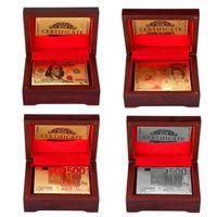 Poker-Karte Gold Silberfolie-Dollar-Spielkarten wasserdicht Luxus vergoldet Pfund Euro-Poker mit roter Box für Geschenk-Sammlung Lieferungen