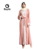 Roupas étnicas Buytiz Paquistão Verde Branco Branco Vestido Rosa Manga Abaya Colagens IslâmicasLong vestidos de Robe Médio Oriente Ramadã Árabe Vestidos