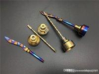 Anodisée titane coloré Carb Cap arc-en-Ti Nail dabber 14mm et 18mm pour fumeurs verre pipe à eau Rigs huile Vaporizer