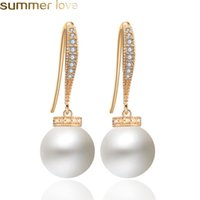 Vintage Imitation Pearl Drop Earrings for Women Pave Cubic Z...