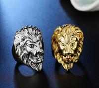 2pieces / lot Lion Head Lågpris Högkvalitativ 925 Silver Diamond Crystal Mäns Ringstorlek 6-14xx