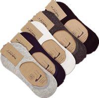 10 pièces = 5 paires Nouveau coton chaussettes pour hommes invisibles chaussettes pour hommes en silicone anti - Pure Color Skid Chaussettes d'été