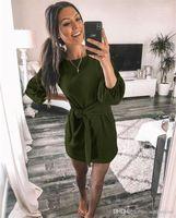 Sashes Sonbahar Kadınlar Saf Renk Elbise Günlük Gevşek Mürettebat Neck ile Kadın Elbiseler Moda Tasarımcısı Fener Kol Bayanlar Giyim