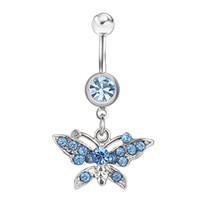 D0141 (1 couleur) Bague nombril du ventre Lt.Blue Nice Butterfly Style avec carrosserie de piercing