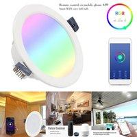 Smart WiFi LED Downlight levou teto levou luz lâmpada 9W RGBW inteligente interior Sala Voice Control Para Alexa / Página inicial do Google