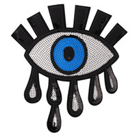 occhi grandi occhi d'argento paillettes distintivo ferro ricamato patch applique per la decorazione di accessori di abbigliamento bag