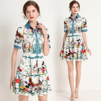 Nueva pista de verano elegante moda floral impresión floral vestido mujer señoras sexy delgado oficina casual manga corta un-line mini diseña vestidos