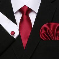 2019 남자의 붉은 색 넥타이 100 % 실크 자카드 짠 넥타이 Hanky 커프스 단추 공식 웨딩 비즈니스 파티 세트