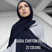 One piece hot women muslim solid plain crinkle chiffon hijab...