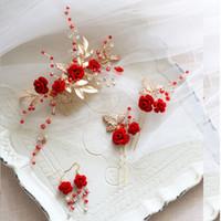 Bana dower Büyüleyici Kırmızı Çiçek Kadınlar Balo Başlığı Rhinestone Gelin Saç tarak Düğün Kafa Saç Pins Aksesuarları
