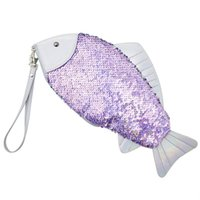 Women Fish- Shaped Sequin Clutch Bag Girl Sequin Coin Purse P...