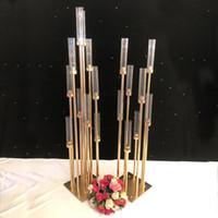 Цветы вазы 8 головок подсвечники фоны дорога свинец реквизит стол Центральная золотой металл стенд столб подсвечник для свадьбы канделябры