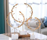 flor de metal boda guirnalda pasillo sala de porche adornos favores de la boda de hoteles centrales de la tabla muestran ornamento de mármol metal nórdico