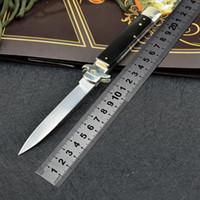 9 inç İtalyan mafyası otomatik bıçak, otomatik taktik bıçak, 58HRC SATIN TEK BIÇAK, D2 çelik boynuz kolu EDC av bıçağı