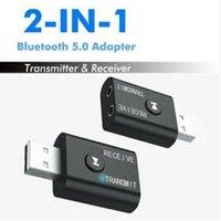 2 in 1 senza fili Bluetooth Receiver Adapter 5.0 Trasmettitore audio stereo Bluetooth Dongle AUX 3,5 millimetri USB per il computer portatile del PC TV Car Kit