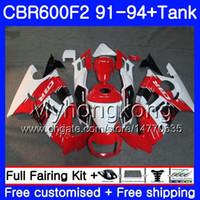 Körper + Tank Für HONDA CBR 600F2 CBR600FS CBR600F2 91 92 93 94 288HM.28 CBR 600 F2 FS CBR600 F2 1991 1992 1993 1994 Verkleidungsset weiß rot heiß