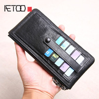 AETOO Wallet men' s long leather ultra- thin zipper small...