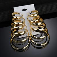Gioielli e accessori Orecchini 2018 Lega Belle Spesso grande cerchio Orecchino per le donne dell'acciaio inossidabile di modo di 6PCS donne moderne